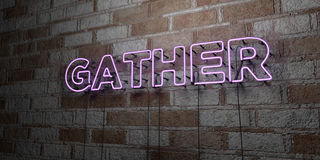 GATHER - Glowing Neon Sign on stonework wall - 3D rendered royalty free stock illustration. Can be used for online banner ads and direct mailers vector illustration