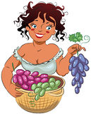 Gather grapes. Friendly girl holding a branch of ripe grapes, on a white background. Vector illustration Royalty Free Stock Images