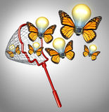 Gather Ideas. Creativity concept with a butterfly net shaped as a human head collecting innovative solutions as a group of flying illuminated light bulbs with stock illustration