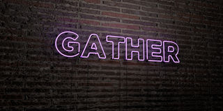 GATHER -Realistic Neon Sign on Brick Wall background - 3D rendered royalty free stock image. Can be used for online banner ads and direct mailers vector illustration