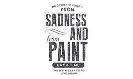 We gather strength from sadness and from pain. Each time we die we learn to live again quote illustration vector illustration