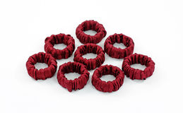 Gathered Fabric Napkin Rings Stock Image