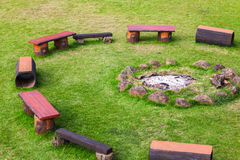 Gathered place around the campfire Stock Photo