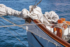 Gathered sail of a big sailing ship Stock Images