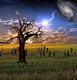 The Gathering. People gather in mystery Sci fi like scene Royalty Free Stock Photo
