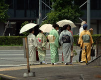 Gathering. Japanese women dressed traditionally Royalty Free Stock Photography