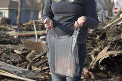 Gathering belongings after house fire Royalty Free Stock Photo