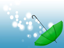 Gathering blessings, dreams concept. Mental wellbeing. Green umbrella and lights. Good can come from adversity, be prepared Stock Images