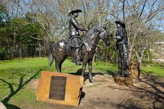 Gathering Brands Sculpture at Chisholm Trail Park Stock Photos