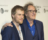 Gathering of `Einstein` Portrayors at Tribeca Film Festival. Johnny Flynn and Geoffrey Rush arrive for the premiere of `Genius` at the 2017 Tribeca Film royalty free stock photo