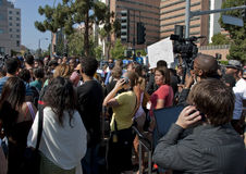 Gathering Fans Remember Michael Jackson. Michael Jackson fans and press gather in front of the UCLA Medical Center in his remembrance just after his death Stock Image