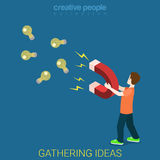 Gathering idea marnetic magnet light bulb flat isometric vector Stock Photography