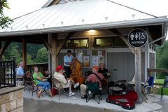 A gathering of musicians in the town of floyd Stock Photos