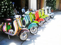 Gathering old vespa piaggio Stock Photography