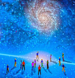 The Gathering. People gather in mystery Sci fi like scene Stock Image