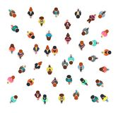 Gathering people group top view, walking men and women, social crowd vector illustration isolated. People group top view, community human vector illustration