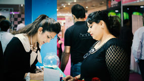Gathering of people in registration counter. At professional beauty india, pragati maidan , delhi , 2014-september- 1,2,3. Its is a beauty trade expo and brands Stock Photography