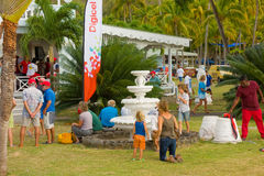 Gathering for prize-giving at an annual event in the windward islands Royalty Free Stock Photo