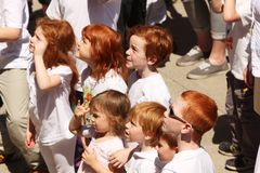 Gathering of redheads Stock Photo