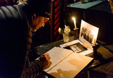 Gathering in tribute to the victims of the Paris terrorist attac Royalty Free Stock Photo