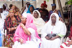 Gathering of women. During traditional ceremonies in africa, women are always separated from men.This picture was taken on thursday, february 26, 2015 in abidjan Stock Image