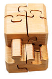 Gathering of wooden mechanical puzzle Stock Photography
