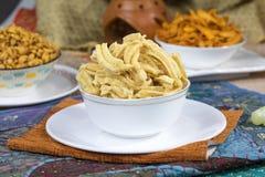 Gathiya Namkeen. Fried and salty food Gathiya Namkeen stock photo