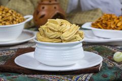 Gathiya Namkeen. Fried and salty food Gathiya Namkeen royalty free stock image