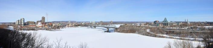 Gatineau skyline panorama in winter, Ottawa, Canada Royalty Free Stock Photography