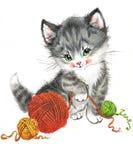 Gatinho animal engraçado watercolor Foto de Stock Royalty Free