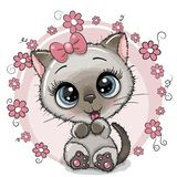 Gatinho bonito do cartão com flores ilustração stock