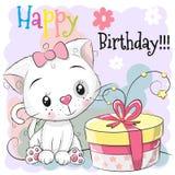 Gatinho bonito do cartão de aniversário do cumprimento com presente ilustração royalty free