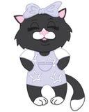 Gatinho bonito do preto dos desenhos animados Fotos de Stock Royalty Free