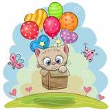 Gatinho bonito dos desenhos animados com balões ilustração stock