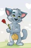 Gatinho bonito no amor com uma flor Fotos de Stock Royalty Free