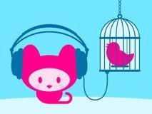 Gatinho bonito que escuta o pássaro do canto ilustração royalty free