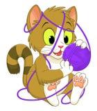 Gatinho com uma bola do fio ilustração do vetor