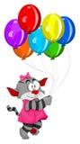 Gatinho dos desenhos animados com balões ilustração royalty free