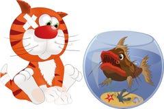 Gatinho e peixes Fotografia de Stock Royalty Free