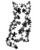 Gatinho floral ilustração royalty free