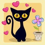 Gatinho preto com coração e flor ilustração stock