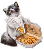 Gatinho que come a pintura da aquarela da pizza Fotos de Stock Royalty Free