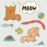 Gatinhos domésticos bonitos dos desenhos animados Fotos de Stock Royalty Free