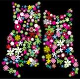 Gatinhos florais ilustração do vetor