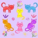 Gatinhos, um grupo de gatos ilustração stock