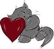 gatito amoroso con el corazón ilustración del vector