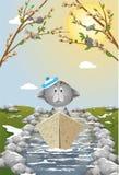 Gatito asustado que flota en un barco en cala de la primavera stock de ilustración