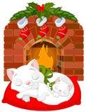 Gatito cerca de la chimenea ilustración del vector