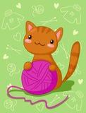 Gatito con el ovillo púrpura Fotografía de archivo
