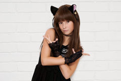 Gatito de la muchacha Imagen de archivo libre de regalías